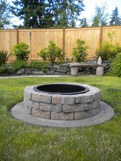 Image result for firepit back yard grass