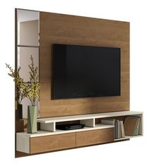 tv unit Orren Ellis Pullman Floating Entertainment Center for TVs up to 70 inches Tv Stand Modern Design, Tv Stand Designs, Tv Cabinet Design, Tv Wall Design, Lcd Panel Design, Tv Unit Furniture Design, Floating Entertainment Center, Condo Living Room, Living Walls