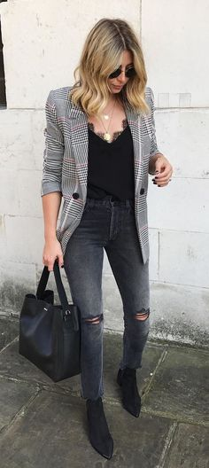 #fall #outfits women's gray and black striped blazer and gray denimm jeans