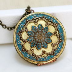 Locket Necklace, turquoise blue locket,Jewelry,Necklace,Pendant,locket,brass locket ,filigree turquoise,38mm,Mother's day,Gift for her