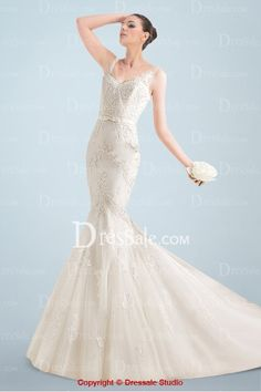 Magnificent Mermaid Wedding Dress with Delicate Lace Appliques Throughout and Plunging Back http://www.dressale.com/magnificent-mermaid-wedding-dress-with-delicate-lace-appliques-throughout-and-plunging-back-p-90436.html