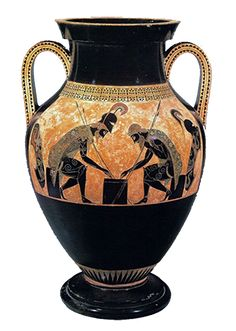"Greece: This piece illustrates ""Achilles & Ajax playing draughts"" on a vase ( ca 530 BC Vatican). This vase illustrates Greek culture by displaying important figures and using black and gold as a color combo. Ancient Greek Art, Ancient Rome, Ancient Greece, Archaic Greece, Greek History, Art History, Art Et Architecture, Greek Pottery, Black Figure"