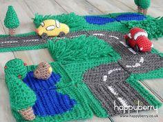Crochet Toys For Boys 365 Crochet: Road Play Mat -free crochet pattern- Crochet Game, Crochet Baby Toys, Crochet For Boys, Crochet Gifts, Cute Crochet, Crochet Dolls, Baby Knitting, Knit Crochet, Knitted Baby