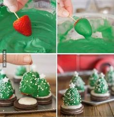 How to make chocolate covered strawberry christmas trees chocolate diy diy crafts do it yourself diy projects christmas tree christmas treats Little Christmas Trees, Christmas Snacks, Christmas Goodies, Holiday Treats, Holiday Recipes, Christmas Time, Xmas Trees, Christmas Berries, Christmas Recipes
