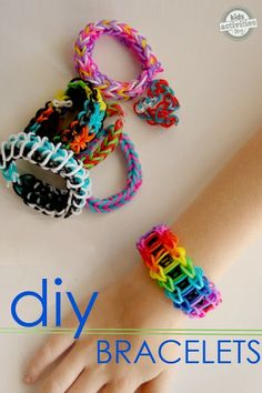 rainbow band bracelet tutorial for kids craft-- 9 different bracelets to make with your rainbow loom. Kids Crafts, Craft Activities For Kids, Indoor Activities, Tape Crafts, Rainbow Loom Patterns, Rainbow Loom Tutorials, Rainbow Band, Loom Craft, Rubber Band Bracelet