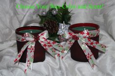 Set of 2 Customizable Christmas Container Candles-Choose Wax Color and Scent