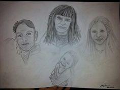 Portrait Familie Bleistift