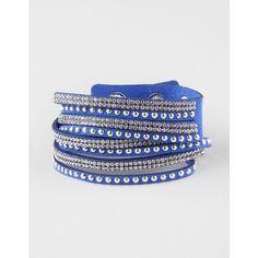 Full Tilt 4 Row Rhinestone/Stud Wrap Bracelet ($7.99) ❤ liked on Polyvore featuring jewelry, bracelets, studded jewelry, adjustable bangle, rhinestone wrap bracelet, full tilt and studded wrap bracelet