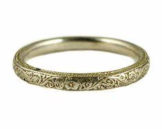 STUNNING ENGLISH ANTIQUE ART DECO PLATINUM WEDDING BAND RING FINE ENGRAVING #Band #weddingbands #weddingring