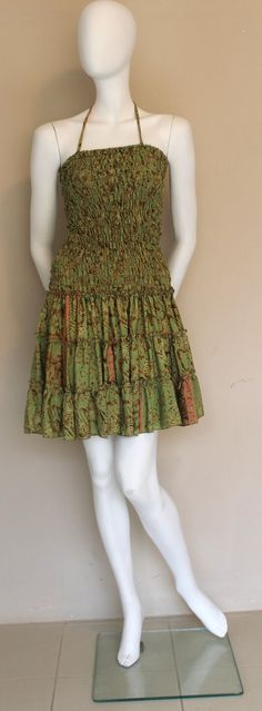 Mini Silk Dress/ Halter Neck Dress / Silk Short by SilkinaFashions