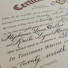 Marriage Certificate Calligraphy – Caitlin Dundon