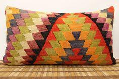 Vintage Lumbar kilim pillow 16 x 28  Throw kilim by kilimwarehouse, $76.00