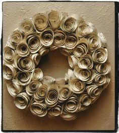 Upcycled Sheet Music paper roses wreath DIY