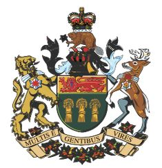 The first part of the Coat of Arms of the Province of Saskatchewan (formally known as The Arms of Her Majesty in Right of Saskatchewan),[1] was the shield, which was assigned by royal warrant of King Edward VII on 25 August 1906. It uses the provincial colours, green and gold.
