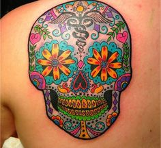 I like this sugar skull but incorporate dogs into it instead of RN Baby Tattoos, Life Tattoos, Body Art Tattoos, New Tattoos, Sleeve Tattoos, Cool Tattoos, Tatoos, Tattoo Art, Sugar Skull Girl