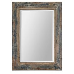 Bozeman Distressed Blue Mirror | Overstock.com