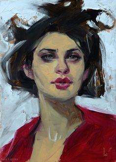 """Loopy"" - John Larriva, oil on hardboard, 2015 {contemporary #impressionist art beautiful female head woman face portrait painting} larriva.blogspot.com"