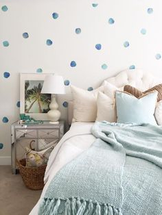 Giving your nursery the look of a custom-painted polka dot wall, these watercolor vinyl wall decals are chic and playful at the same time. Details + Dimensions: Includes 50 individual dots Each dot is 4-inches in diameter Matte finish Cut from specialized vinyl without edges or backgrounds Easy installation with included guide Decals adhere best to matte, eggshell, satin or semi-gloss paint Not recommended for highly textured surfaces like concrete, stucco or drywall/primer finish Easy ...