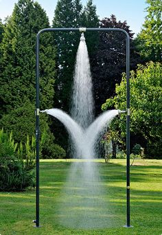 D'un jardin a l'autre is a french company that has a creative idea to create an outdoor shower, which aims to gain new experiences your bath. This is a cool shower design that was created with a simple U shape, which equiped with three showers, one overhead and one on each side, which will pamper and refresh your entire body. This outdoor shower is made ​​of durable galvanized-steel frame, which will last with all kinds of weather. Suitable to be placed in the back yard, but do not worry…