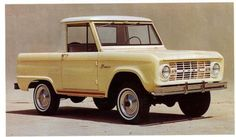 1966 Ford Bronco....This is like mine!! So ready to have it on the road and then get it all fixed up!! HMMM, Cajun shrimp with black accents or some other color??