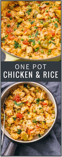 This one pot chicken and rice dinner is the perfect weeknight dinner solution, easily incorporating any leftovers in one healthy and tasty dish. southern chicken and rice, spanish chicken and rice recipe, one pot meal, casserole, crockpot, soup, creamy, easy, baked, cheesy
