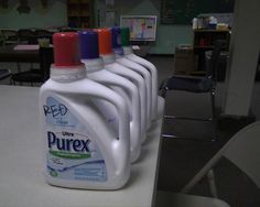 store paint in laundry detergent containers, upcycled, recycled, repurposed, reuse, clever
