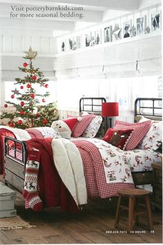 Love, love, love this Pottery Barn Kids catalog display! Love the decorator white walls and white roman shades, too!