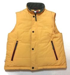 TOMMY JEANS Hilfiger Vest Small Puffer Fleece Lined Yellow Vintage  | eBay