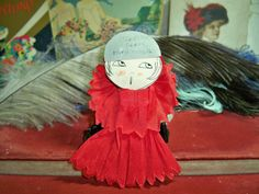 Art Deco  Red Crepe Paper Flapper Girl Party Favor by puffadonna, $20.00