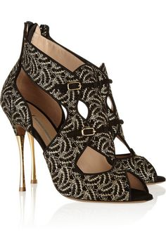 NICHOLAS KIRKWOOD Lace-covered suede sandals
