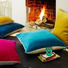 Velvet And Linen Backed Floor Cushions, Home Accessories, Base for a living room cushion stack of mixed florals. Living Room Cushions, Cushions On Sofa, Large Floor Cushions, Floor Pillows, Throw Pillows, Eclectic Furniture, Furniture Design, Sofa Upholstery, Houses