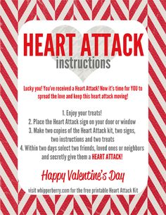 Heart Attack Instructions- start a new vday tradition in your neighborhood