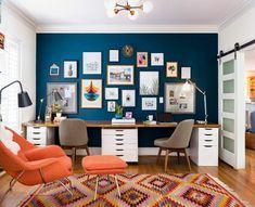 43 Incredible Home Office Cabinet Design Ideas For You – Modern Home Office Design Office Cabinet Design, Home Office Cabinets, Office Interior Design, Office Interiors, Office Designs, Blue Interiors, Cupboard Design, Bar Designs, Office Walls