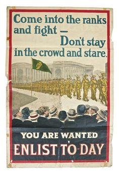 IRISH WORLD WAR I PROPAGANDA POSTER (c.1915) Printed by Alex Thom & Co. Dublin Ww1 Propaganda Posters, Political Advertising, Dublin City, Fighting Irish, World War One, Local History, Military History, Vintage Posters, Poster Prints
