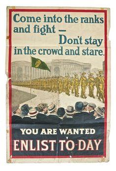 IRISH WORLD WAR I PROPAGANDA POSTER (c.1915) Printed by Alex Thom & Co. Dublin Ww1 Propaganda Posters, Political Advertising, Dublin City, World War One, Local History, Military History, Poster Prints, Fighting Irish, Geography