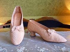 Quilted Satin Evening Shoes, Antique Shoes, Antique Pumps, Edwardian Shoes, ca. 1910