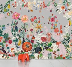 Possibly the first floral wallpaper I've ever liked! I love how fever-dream-bright it is.  Papier peint Jardin gris / Panoramique - 8 lés Nathalie Lété