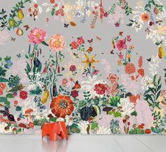 Papier peint Jardin gris / Panoramique - 8 lés Nathalie Lété