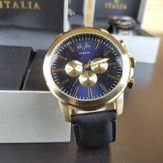 Versace V 1969 Italia Watch Black/Gold/Blue NEW Style 37VM113201A
