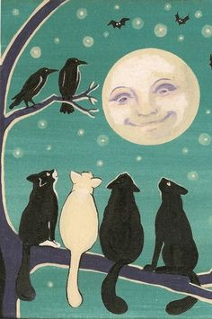Cats, Crows, Moon