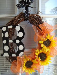 Monogram and Sunflowers Wreath by crossingstems on Etsy, $60.00