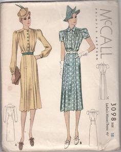 c. 1938 Vintage McCall 3098 Dress 2 Sleeve Lengths Pattern Size 18 Complete
