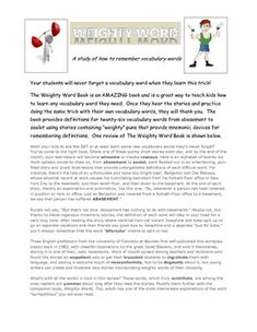 The Weighty Word Book is an EXCELLENT book that cleverly uses humor and a play on words to create short stories to help children remember meanings of words!This unit plan that I have developed has worked in my classes when I taught second grade, fourth grade, sixth grade, seventh grade, and eighth grade.