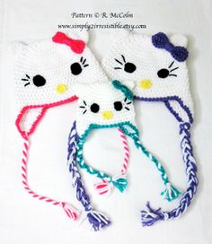 Hello Kitty Cat Hat Pattern - Crochet Pattern Number 13 - Beanie and Earflap Pattern (US or UK Terms) - Newborn to Adult Sizes Included