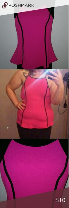 NWOT Hot Pink Racerback Flared Top XL NWOT never worn only tried on,  hot pink racerback top with black piping detail. Lots of stretch, no flaws. Tag sz xl AMI Clubwear Tops