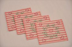 4 Eco Coasters Embroidered Red Hearts by TheBuckeyeandtheFrog