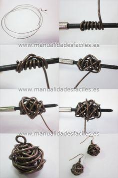 Como hacer unas bolas de alambre para pendientes