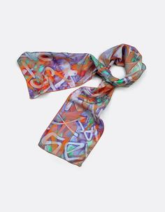 Printed foulard scarf with a unique colourful and bright graffiti inspired pattern in shades of orange and lilac. The scarf was digitally printed in the UK using my unique design on natural habotai and finished in my studio. If you are looking for...