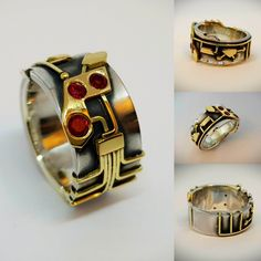 "Silver and gold ring ""by normann"" I used 14, 18 and 24K gold and ruby in this one!"