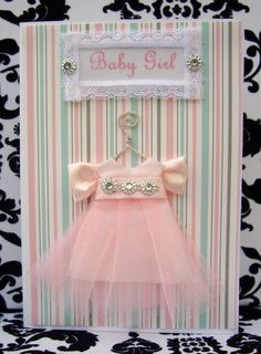 Baby Girl Personalised Tunic Pink Dress / Handmade Greeting Card